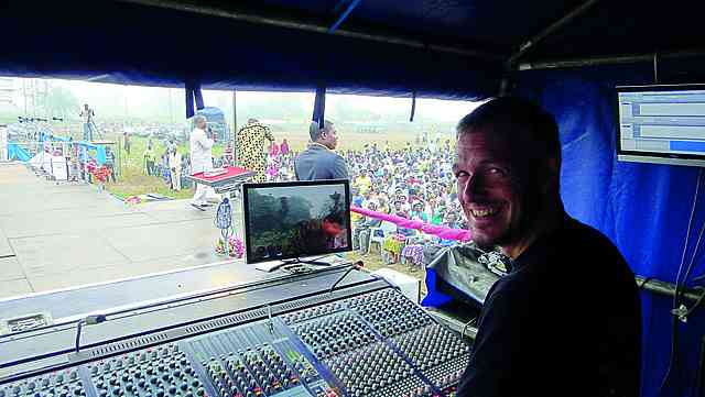 "Paul ""Boyo"" at the mixing desk during one of the morning"